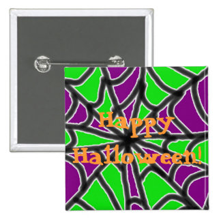 Green and Purple Spider Web Button