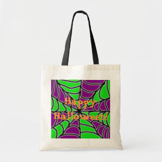 Green and Purple Spider Web Happy Halloween Bag