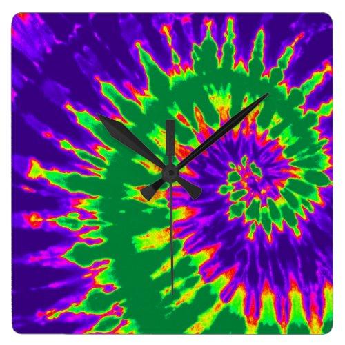 Green and Purple Spiral Tie Dye Clock