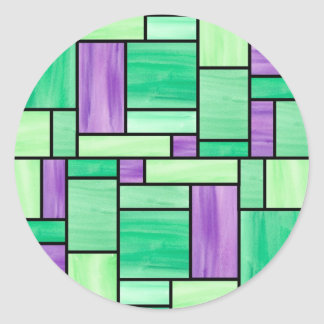 Green and Purple  Stained Glass Stickers