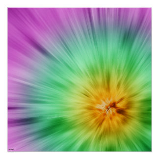 Green And Purple Tie Dye Poster
