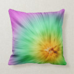 Green And Purple Tie Dye Throw Pillows