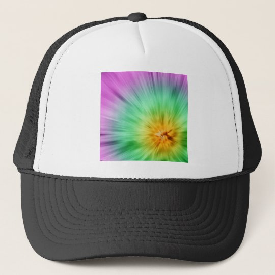 Green And Purple Tie Dye Trucker Hat