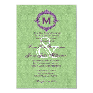 Green and Purple Vintage Monogram Wedding J45 5x7 Paper Invitation Card