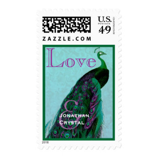Green and Purple Wedding LOVE Peacock Stamp