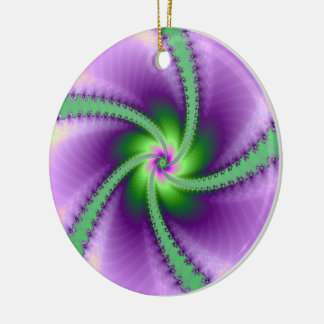 Green and Purple Whirligig Ceramic Ornament