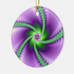 Green and Purple Whirligig Double-Sided Ceramic Round Christmas Ornament