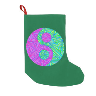 Green And Purple Yin And Yang Symbol Zen Colorful Small Christmas Stocking