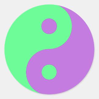 Green and Purple Yin Yang Classic Round Sticker