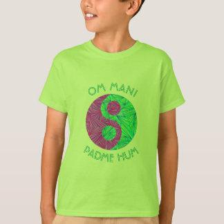 Green And Purple Yin Yang Om Mani Padme Hum Zen T-Shirt