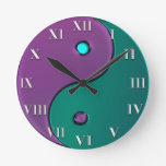 Green and Purple Yin-Yang Roman Numeral Clock