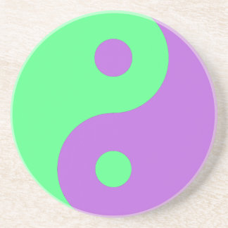 Green and Purple Yin Yang Sandstone Coaster