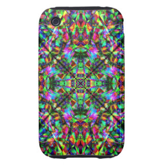 Green and Rainbow Mandala Pattern Tough iPhone 3 Covers