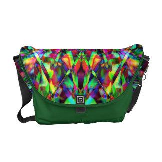 Green and Rainbow Mandala Pattern Messenger Bags