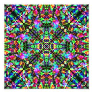 Green and Rainbow Mandala Pattern Photo Print