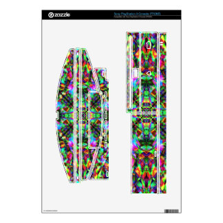 Green and Rainbow Mandala Pattern Decals For PS3 Console