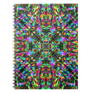 Green and Rainbow Mandala Pattern Spiral Notebook