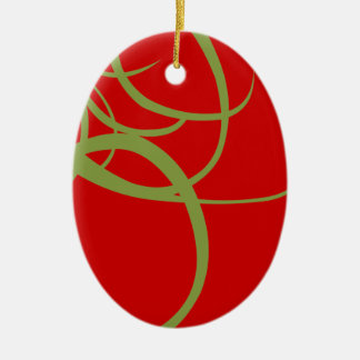 Green and Red Abstract Christmas Ceramic Ornament