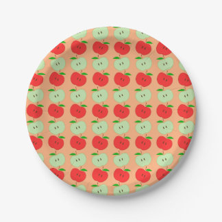 Green and Red Apples Pattern Paper Plate