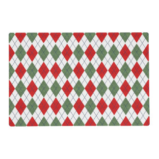Green and Red Argyle Placemat