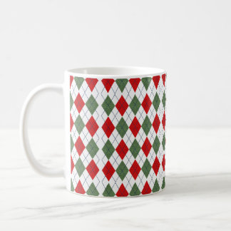 Green and Red Argyle Sweater Coffee Mug