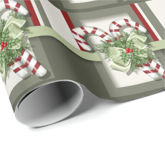 Green And Red Christmas Candy Cane Wrapping Paper