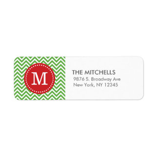 Green and Red Christmas Chevron Custom Monogram Label
