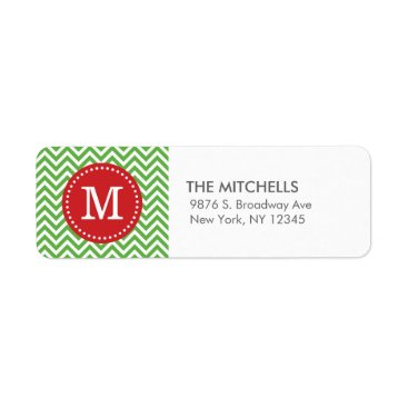 Christmas Themed Green and Red Christmas Chevron Custom Monogram Label