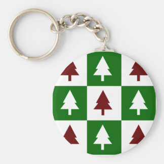 Green and Red Christmas Trees Basic Round Button Keychain