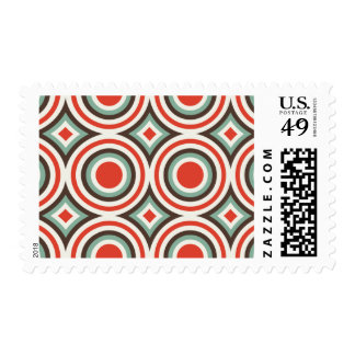 Green and red circles postage stamp
