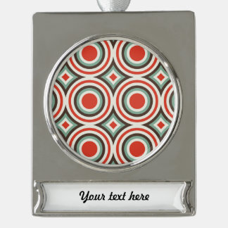 Green and red circles silver plated banner ornament