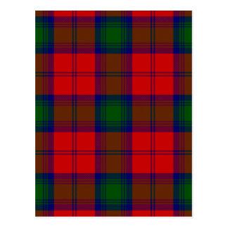 Green and Red Clan Lindsay Tartan Postcard
