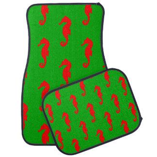 Green And Red Coastal Christmas Seahorse Pattern Car Mat