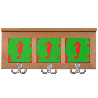 Green And Red Coastal Christmas Seahorse Pattern Coat Rack