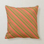 [ Thumbnail: Green and Red Colored Pattern Throw Pillow ]