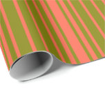 [ Thumbnail: Green and Red Colored Pattern Wrapping Paper ]