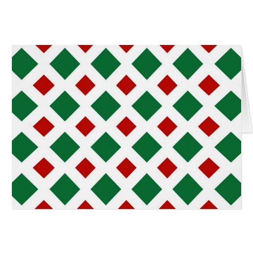 Green and Red Diamonds on White Greeting Card