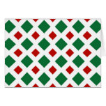 Green and Red Diamonds on White Greeting Cards