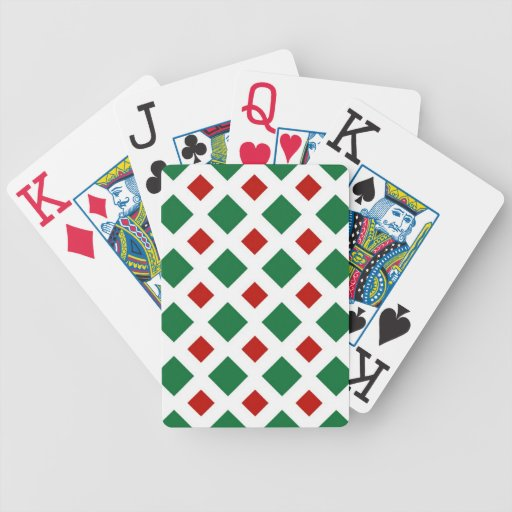 Green and Red Diamonds on White Bicycle Playing Cards