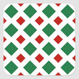 Green and Red Diamonds on White Square Sticker