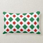 Green and Red Diamonds on White Throw Pillows