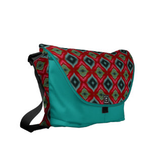 Green and Red Diamonds Patterned Messenger Bag