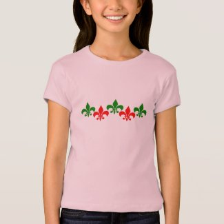 Green and Red Fleur de Lys T-Shirt