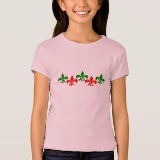 Green and Red Fleur de Lys T-Shirt