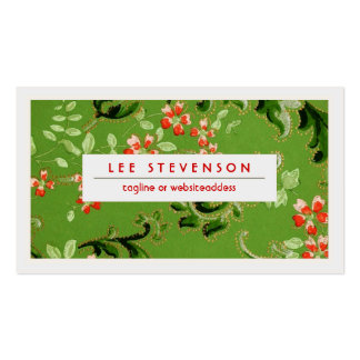 Green and Red Flowers Vintage Floral Pattern Business Cards