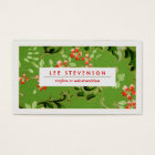 Green and Red Flowers Vintage Floral Pattern Business Card