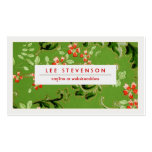Green and Red Flowers Vintage Floral Pattern Double-Sided Standard Business Cards (Pack Of 100)