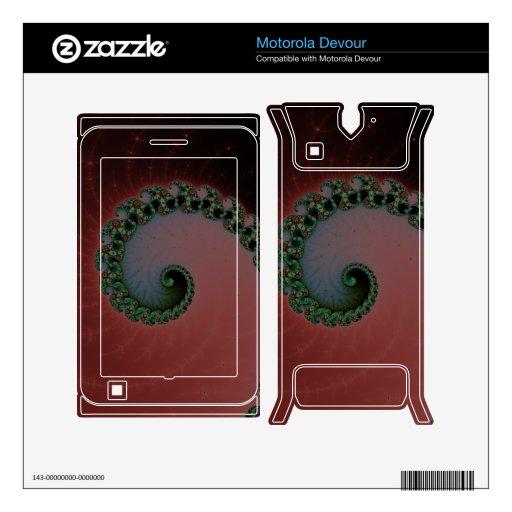 Green and Red Futuristic Fractal Spirals Swirls Motorola Devour Decal
