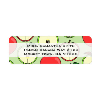 Green and Red Half Apple Print Address Label
