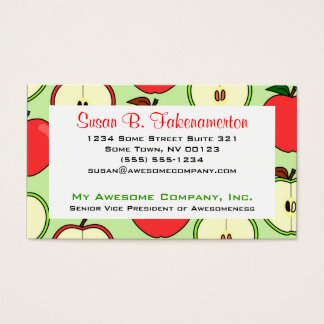 Green and Red Half Apple Print Business Card